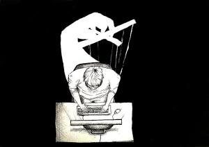 Por Robert Solsona, ilustración que muestra como la información es manipulada y controlada